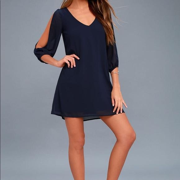 Lulu's Dresses & Skirts - Lulus Navy Midi Sleeve Loose Short Chiffon Dress